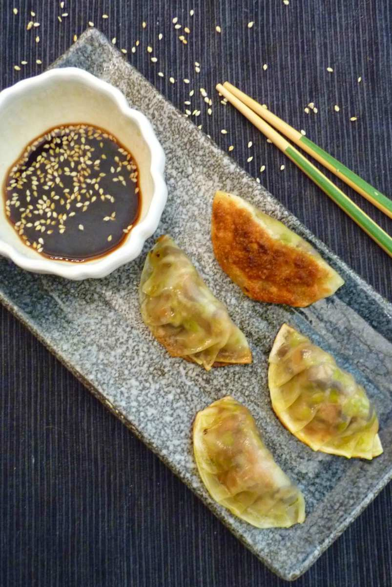 Mushroom Gyoza- Little Samurai Dumplings of Deliciousness